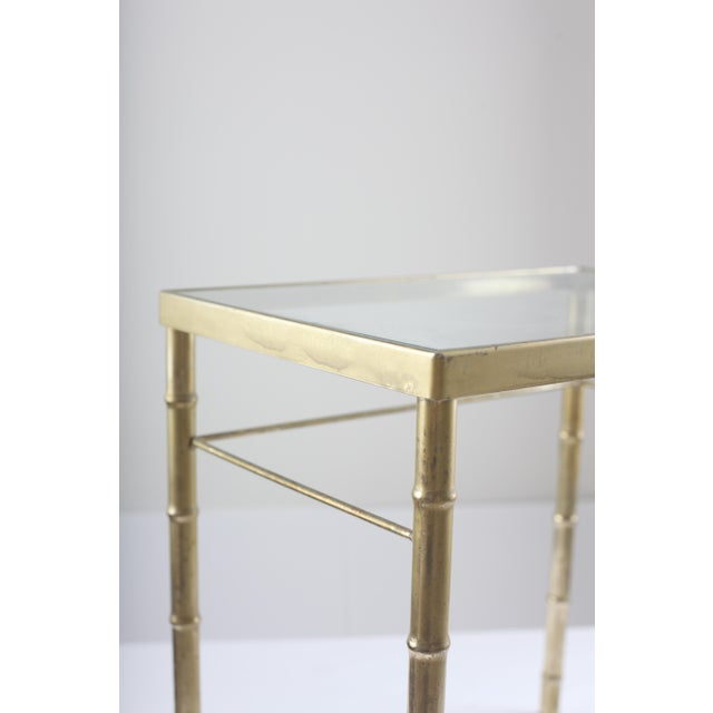 Faux Bamboo Brass & Glass Nesting Tables - Pair - Image 4 of 8
