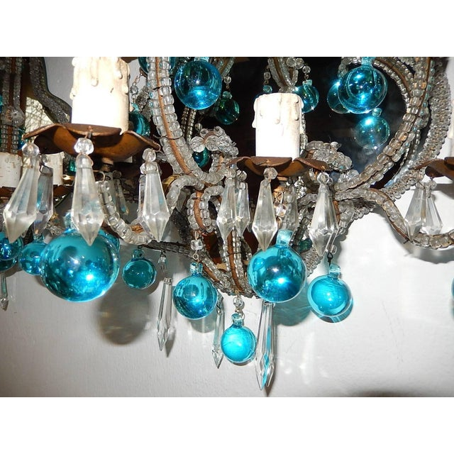 Glass French Micro Beaded Mirror Aqua Blue Murano Drops Sconces For Sale - Image 7 of 10