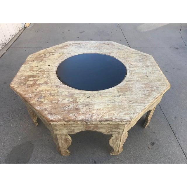 Moroccan Distressed Wood Octagonal Coffee Table For Sale - Image 13 of 13