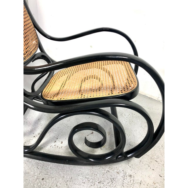 1960s Italian Thonet Style Cane & Wood Rocker in Black For Sale - Image 5 of 11