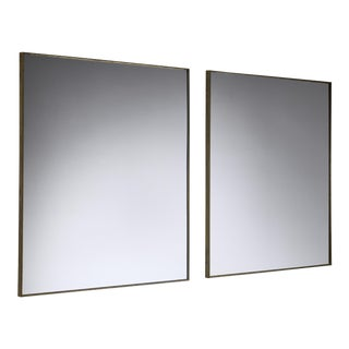 Pair of Italian Rectangular Brass Wall Mirrors, 1950s For Sale