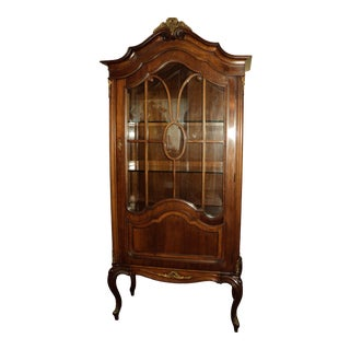 1940s French Country Walnut China/Display Cabinet For Sale