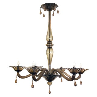 Elegant Murano 1930's Chandelier of Charcoal-Brown Glass by Napoleone Martinuzzi For Sale