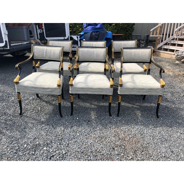 1990s Vintage Karges Regency Black and Gold Armchairs Dining Chairs- Set of 6 For Sale - Image 13 of 13