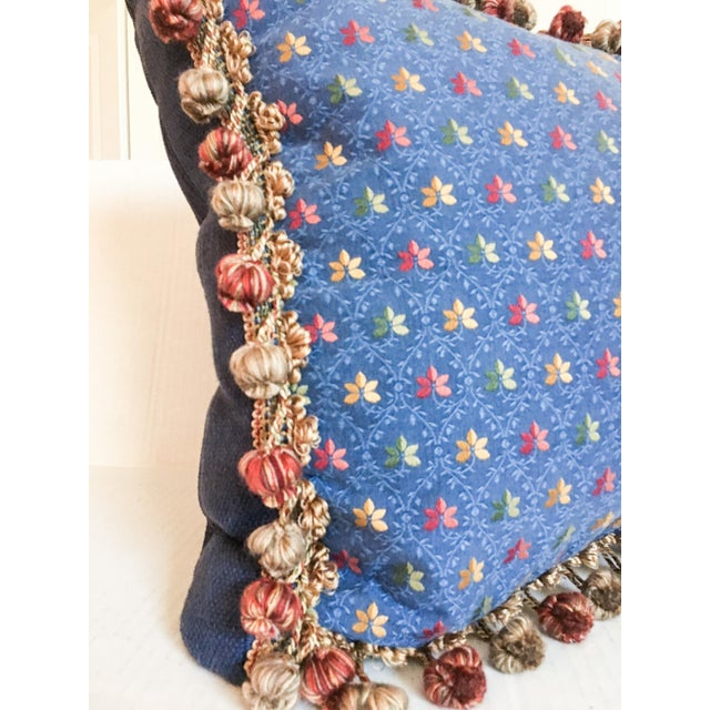 Embroidered Needlepoint Box Pillow with Fringe - Image 4 of 6