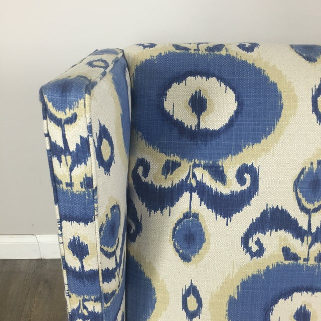 Crate & Barrel Patterned Wingback Chair - Image 4 of 10