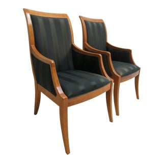 1980s Vintage Hickory White Genesis Neo Classical Dining Room Arm Chairs- A Pair For Sale