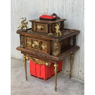 19th Century Spanish Victorian Carved Walnut and Bronze Reliefs Sewing Table Preview