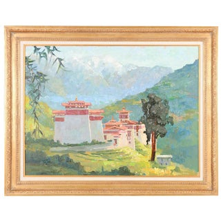 """Tonza Tzong Monastery"" Oil Painting by Peter Adams For Sale"