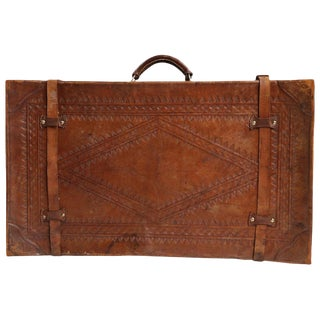 Vintage Tooled Leather Suitcase Made in Mexico For Sale