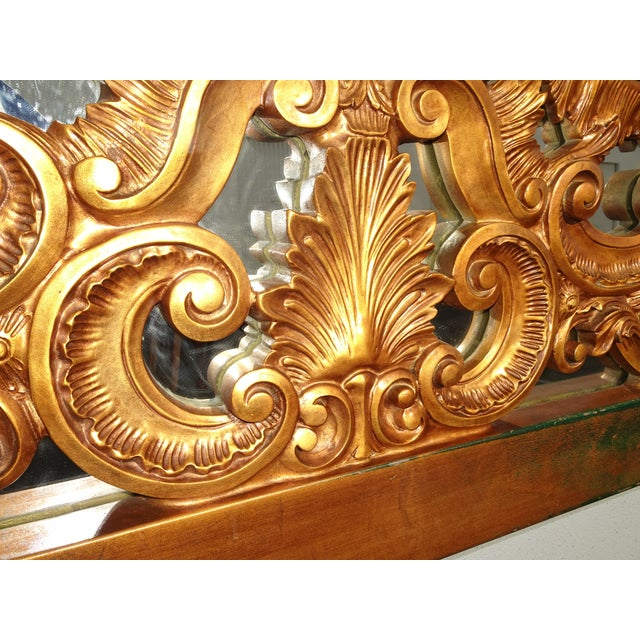 Vintage French Provincial Louis XVI Rococo Gold King Headboard Mirror & Scrolls For Sale - Image 10 of 13