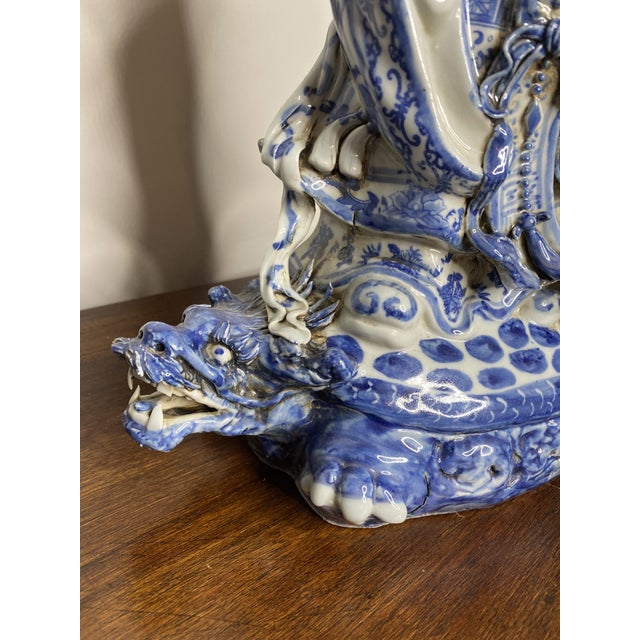 Vintage Chinese Blue & White Figures - Set of 2 For Sale - Image 9 of 13