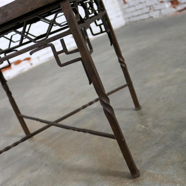 Ceramic Art Deco Wrought Iron and Tile Side Table California Style Tiles For Sale - Image 7 of 11