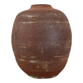 Vintage Maroon Japanese Seizan Clay Pottery Vase For Sale