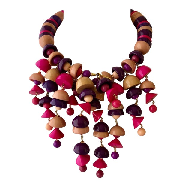 French Pink Fringe Architectural Bib Statement Necklace For Sale