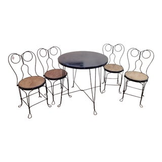 Vintage Wrought Iron Bistro/Ice Cream Parlor Table and Chair Set - 5 Pieces For Sale