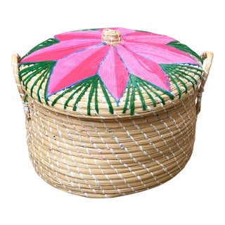 Multicolored Lidded Handmade Basket