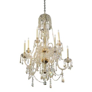Early 20th Century Tall Eight Arm Crystal Chandelier For Sale