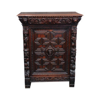 Carved Wood Antique Gothic Locking Cabinet For Sale