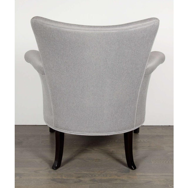 Glamourous Pair of Hollywood Scrolled Arm Chairs with Button Back Detailing For Sale In New York - Image 6 of 7