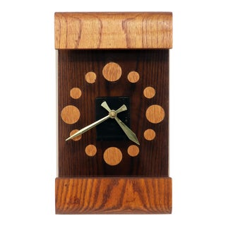Vintage Oak and Smoked Acrylic Mod Wall Clock For Sale