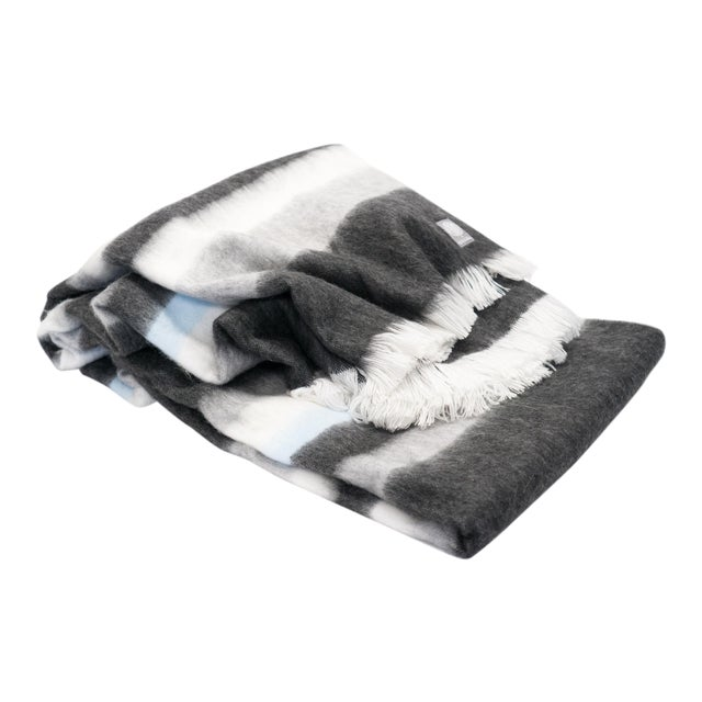 Luxe Alpaca Blanket in Charcoal/Dove Grey/Ivory/Sky Blue For Sale