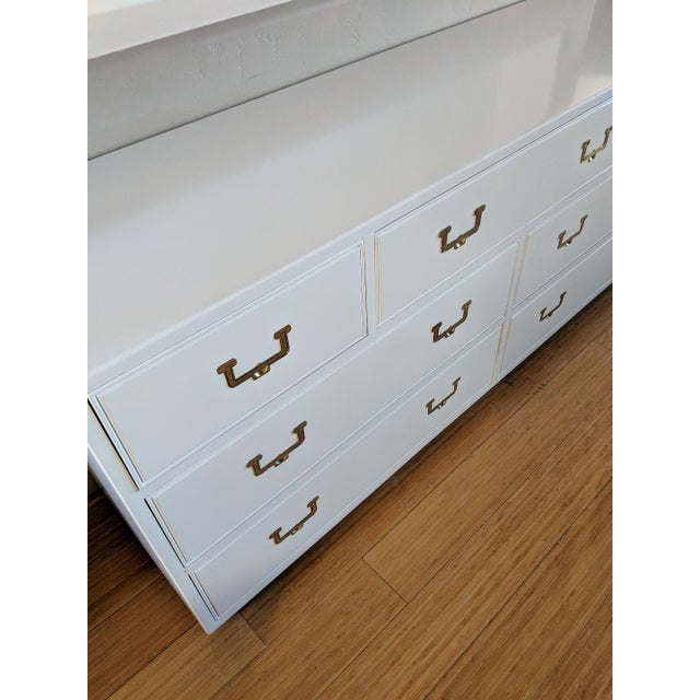 1960s 1960s Vintage Henredon Campaign High Gloss White Dresser Credenza Buffet For Sale - Image 5 of 10