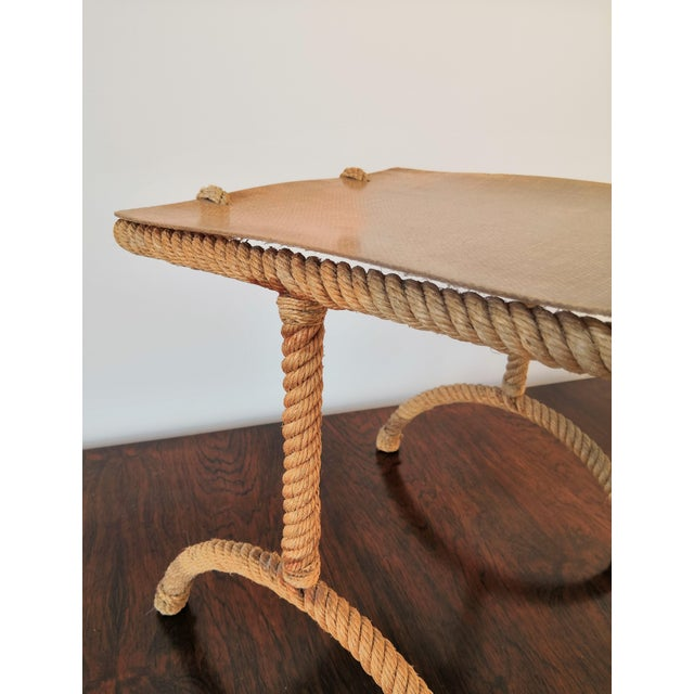 Resin French Rope Square Side Table by Audoux & Minnet For Sale - Image 7 of 11