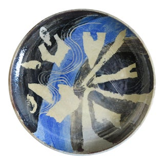 Abstract Mid-Century Stoneware Plate For Sale