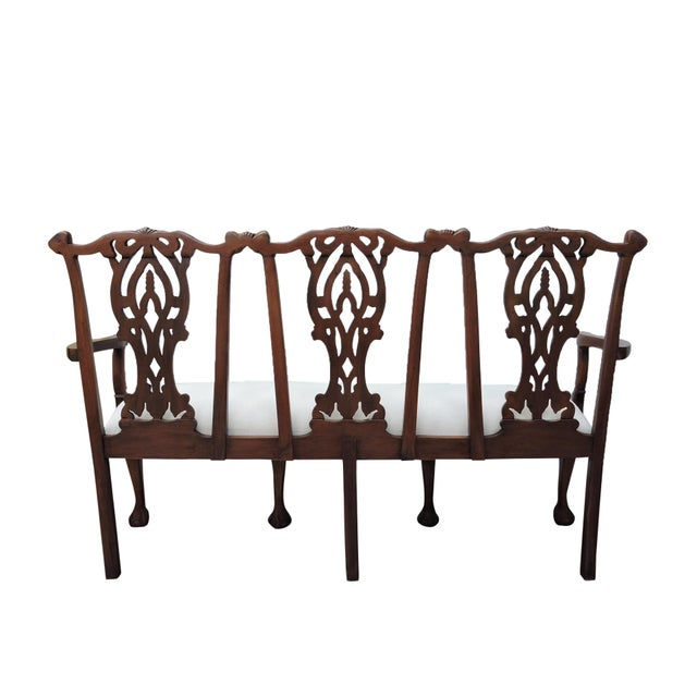 Late 19th Century Antique Three Seat Upholstered Chippendale Bench Settee For Sale - Image 5 of 8