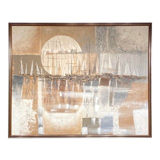 Monumental Signed Oil on Canvas Ferrante Nautical Sailboats Abstract Painting For Sale