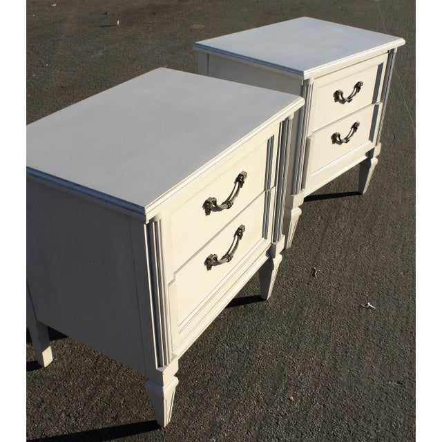 Gray Painted Wooden Nightstands - A Pair - Image 3 of 6