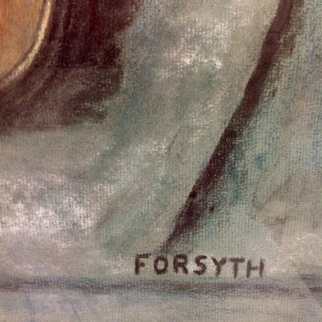 Mid 20th Century Original Forsyth Pastel Drawing on Strathmore Paper For Sale - Image 5 of 5
