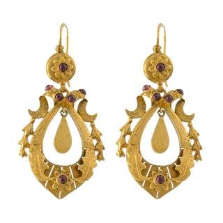 14k Gold Almondine Garnet Victorian Style Pierced Earrings For Sale