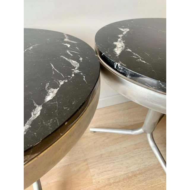 Aluminum and Marble Side Tables - a Pair For Sale - Image 10 of 12