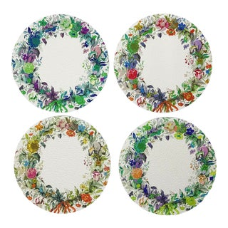 Wreath Flower Coasters, Set of 4 For Sale