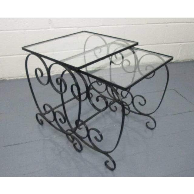 Two Pairs of French Wrought Iron Nest of Tables For Sale - Image 4 of 5