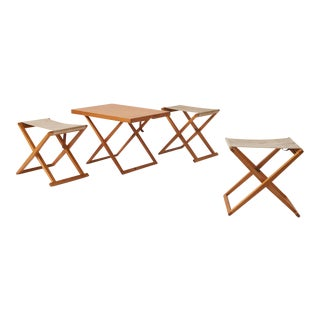 Folding table and stools by Mogens Koch for Rud Rasmussen/Interna - 4 pieces For Sale