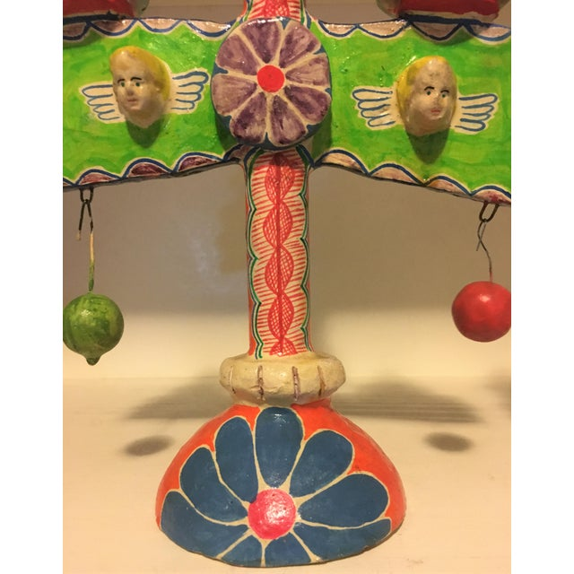 Folk Art Vintage Mexican Pottery Folk Art Candle Holders Trees of Life - a Pair For Sale - Image 3 of 9