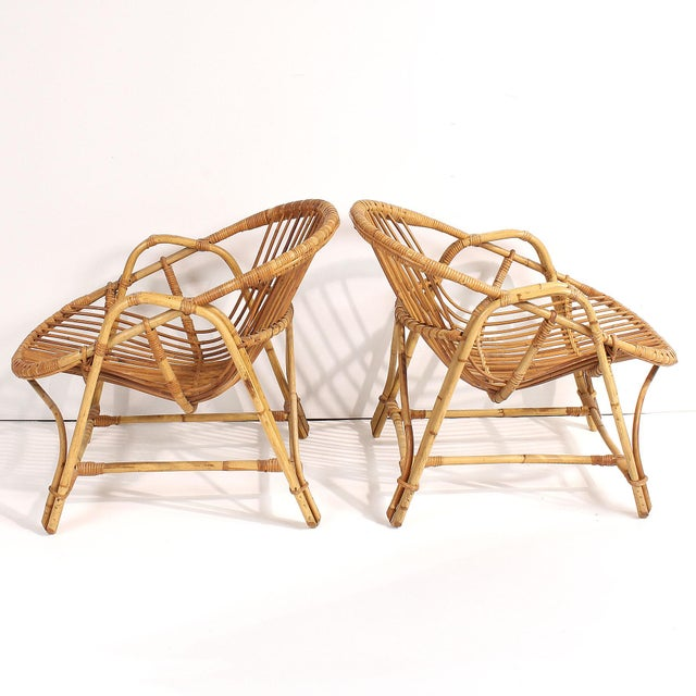 1960s French Rattan Lounge Chairs - A Pair For Sale - Image 4 of 8