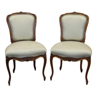 French Louis XV Carved Wood Chairs - a Pair For Sale