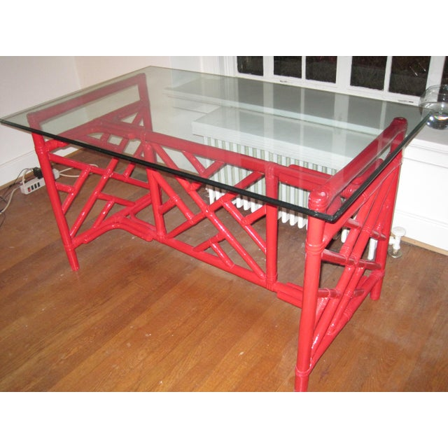 Chippendale Style Bamboo Desk - Image 6 of 7