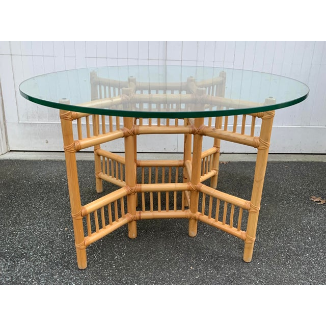 "Beautiful Bamboo Dining Table by Willow and Reed. 3/4"" thick glass top."