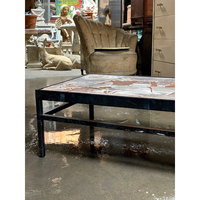 1960s Long Heavy Mid-Century Signed Stone Egyptian Scene Carved Coffee Table For Sale In Sacramento - Image 6 of 11