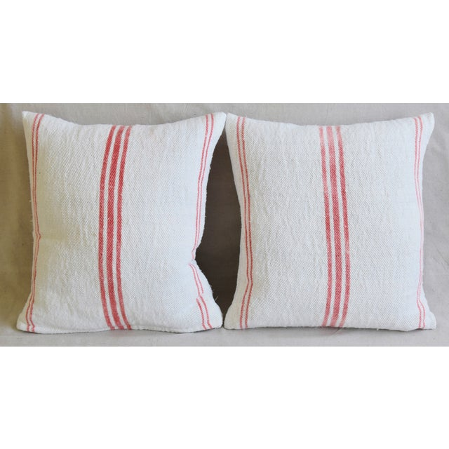 Pair of large reversible double-sided custom-tailored pillows in professionally dry-cleaned French homespun textile grain...