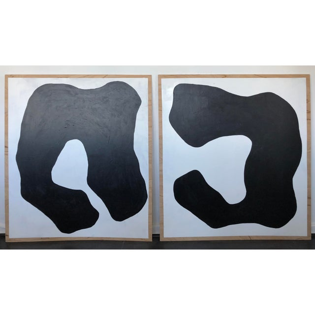 Abstract Abstract Monochrome Duo For Sale - Image 3 of 3