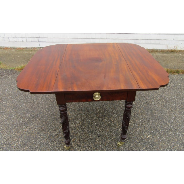 Antique Federal Dropleaf Solid Mahogany Table For Sale - Image 11 of 13