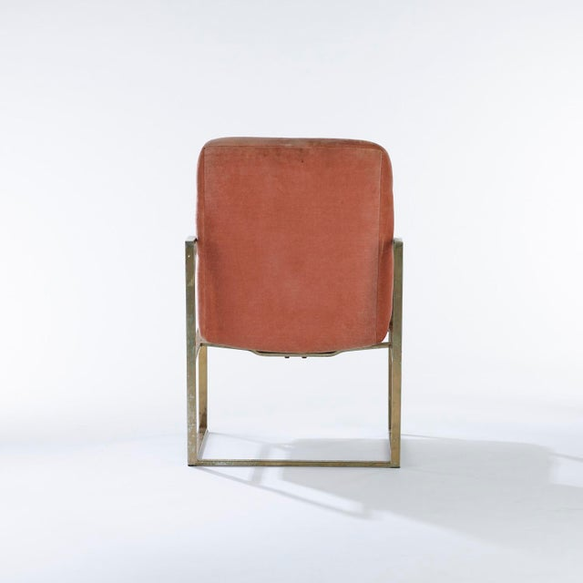 Milo Baughman 1970s Vintage Brass Upholstered Milo Baughman for Thayer Coggin Chairs- Set of 4 For Sale - Image 4 of 7