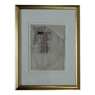 Antique Framed BrieFrench Illuminated Vellum Calendar 1400s 15th Century For Sale