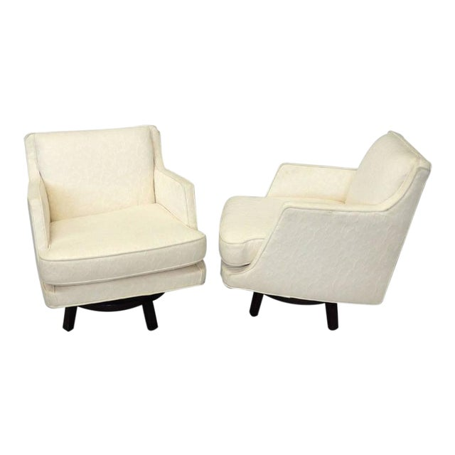 Pair of White Edward Wormley for Dunbar Swivel Lounge Chairs For Sale